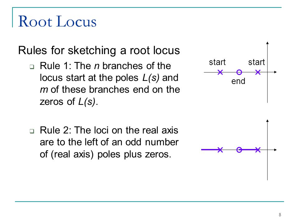 Root Locus Rules for sketching a root locus