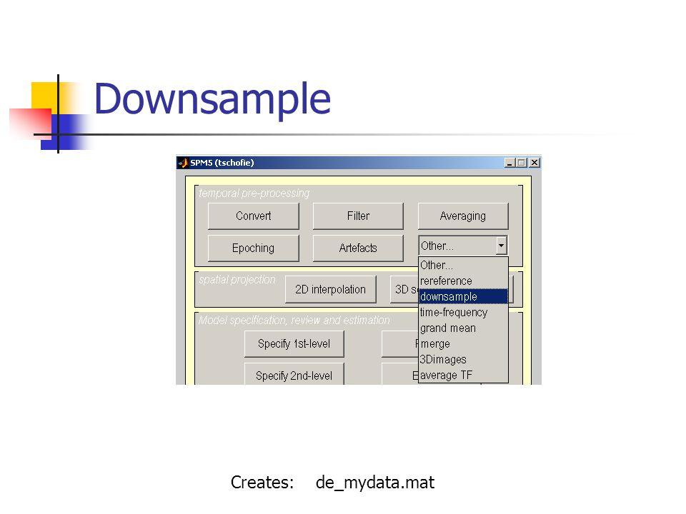 Downsample Creates: de_mydata.mat