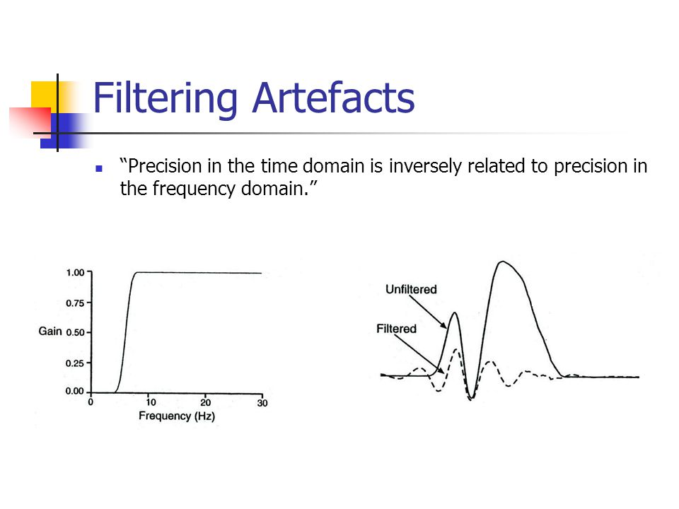 Filtering Artefacts Precision in the time domain is inversely related to precision in the frequency domain.