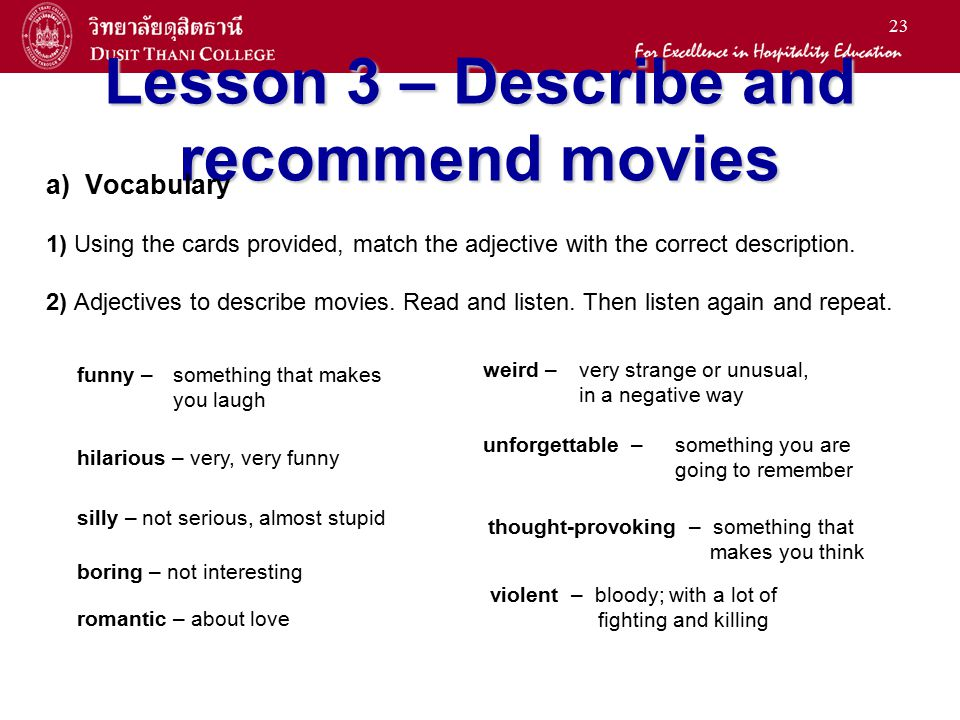 Lesson 3 – Describe and recommend movies