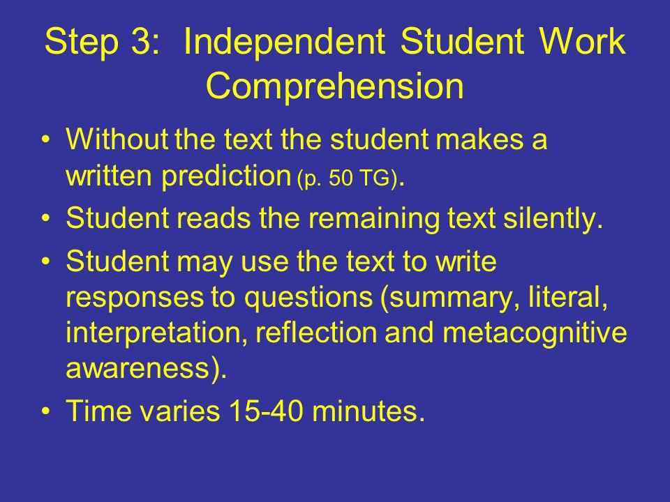 Step 3: Independent Student Work Comprehension