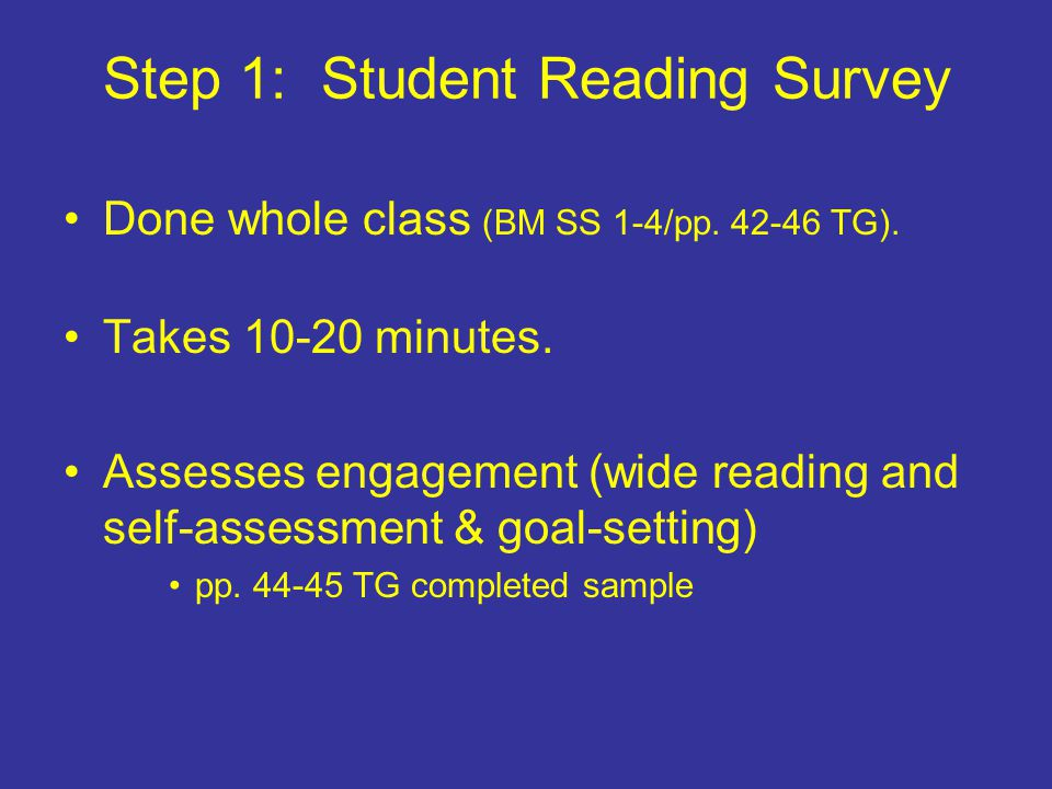 Step 1: Student Reading Survey