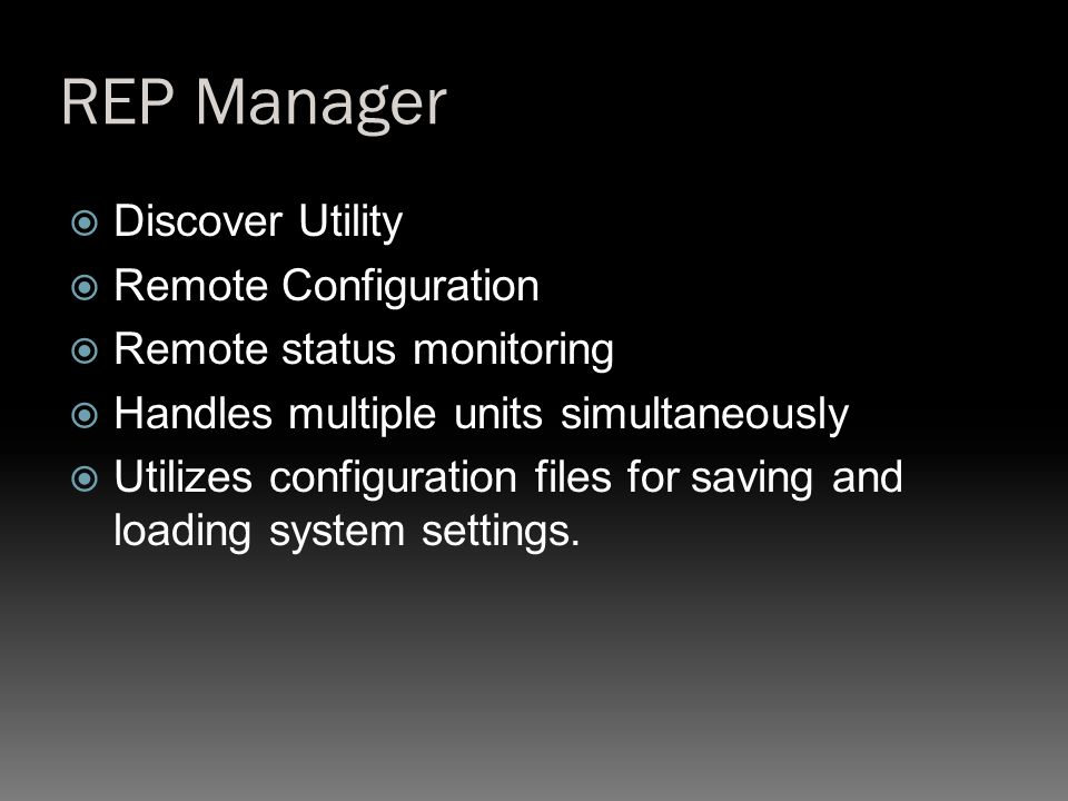 REP Manager Discover Utility Remote Configuration