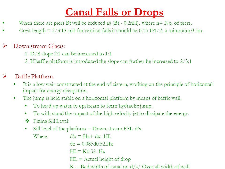 Canal Falls or Drops Down stream Glacis: Baffle Platform: