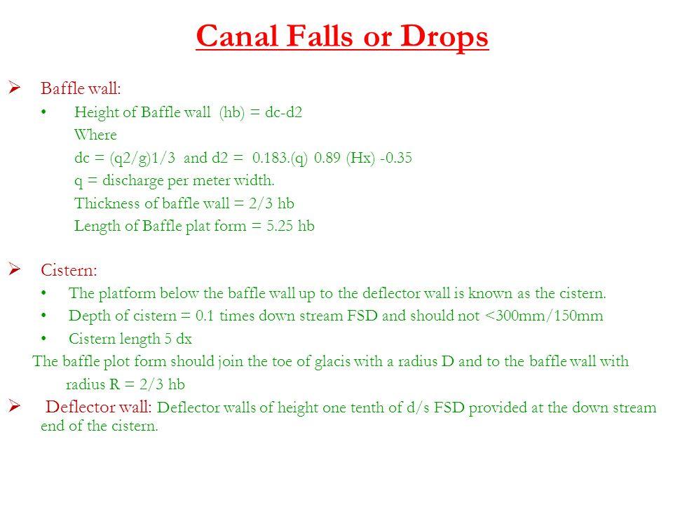 Canal Falls or Drops Baffle wall: Cistern: