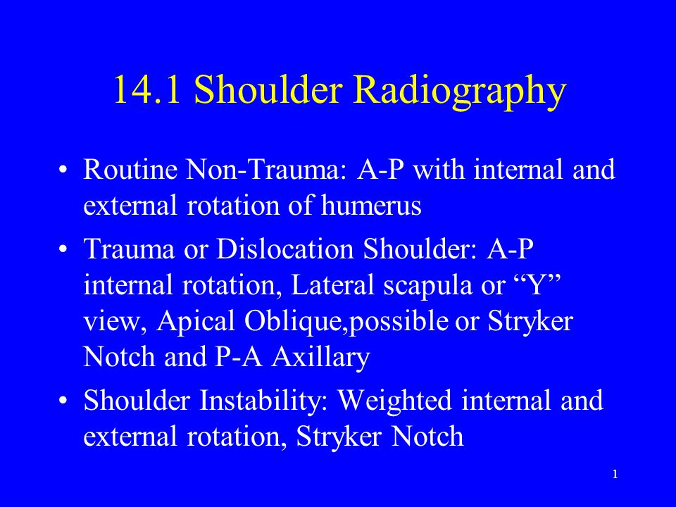 14.1 Shoulder Radiography Routine Non-Trauma: A-P with internal and external rotation of humerus.