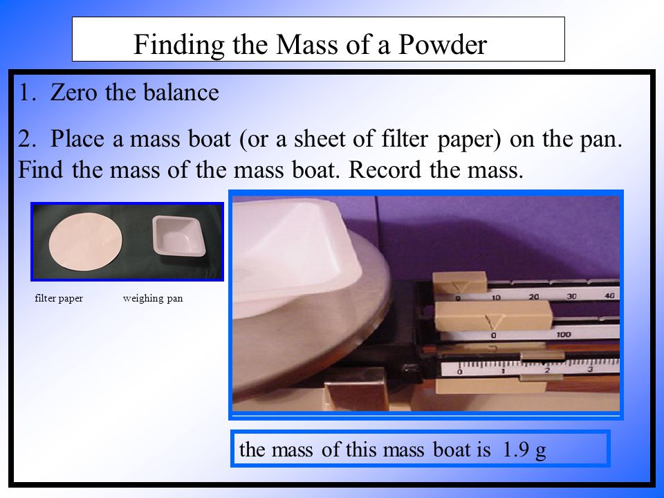 Finding the Mass of a Powder