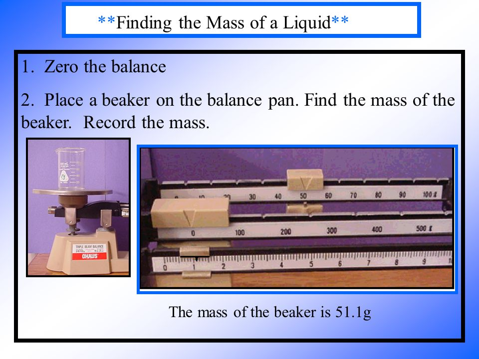 **Finding the Mass of a Liquid**