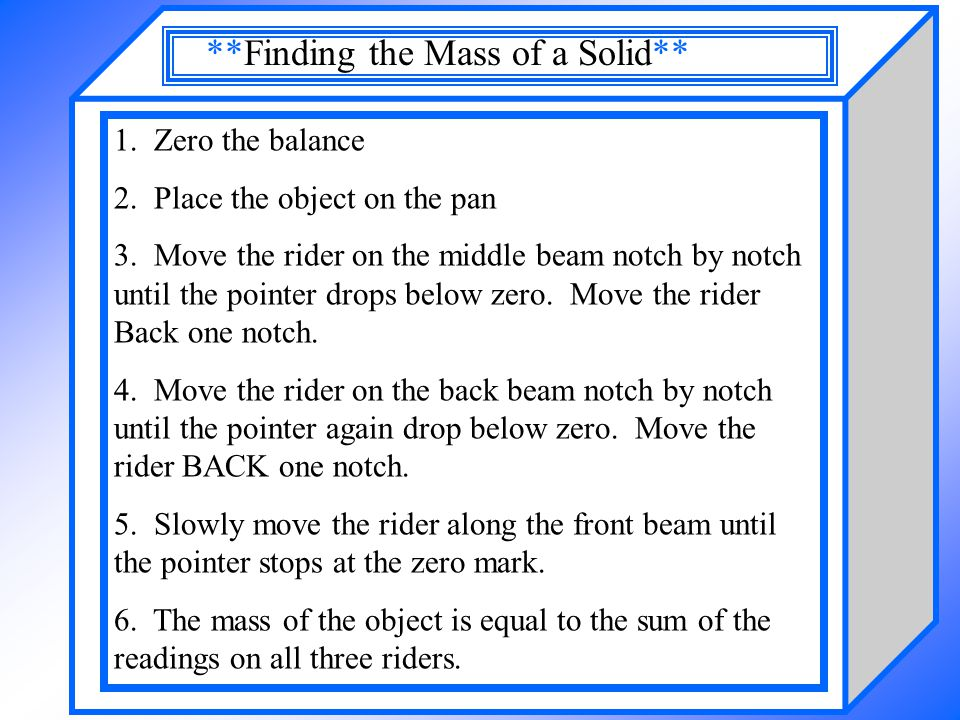 **Finding the Mass of a Solid**