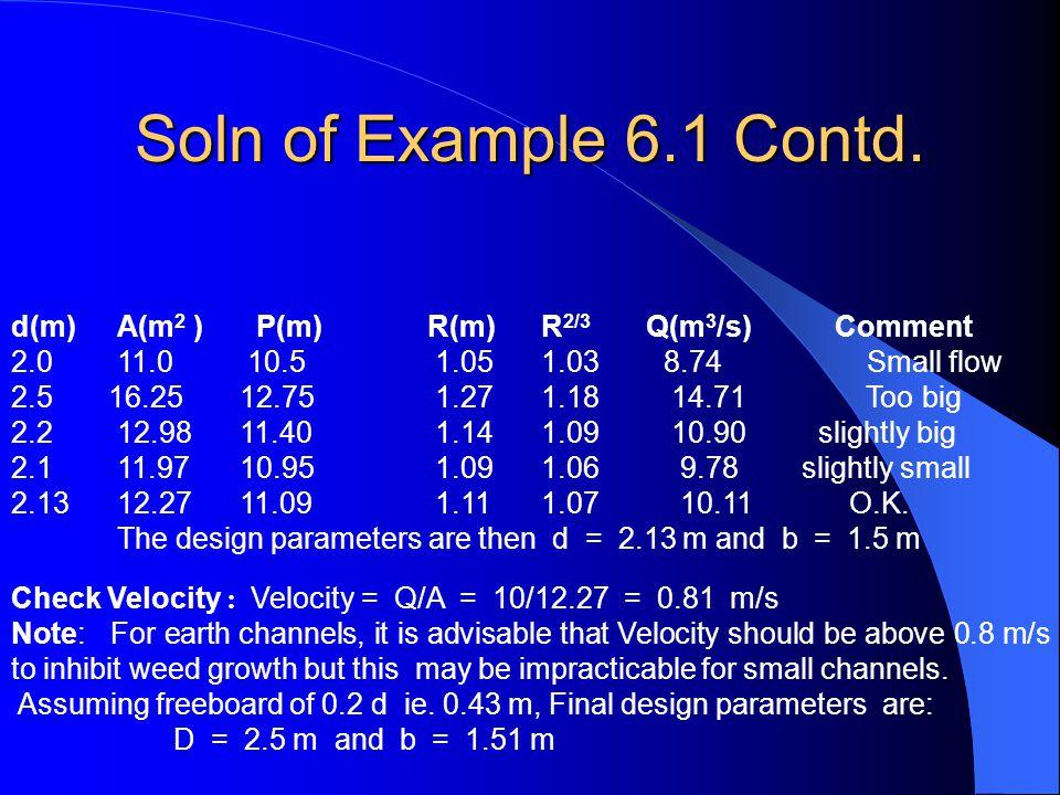 Soln of Example 6.1 Contd. d(m) A(m2 ) P(m) R(m) R2/3 Q(m3/s) Comment