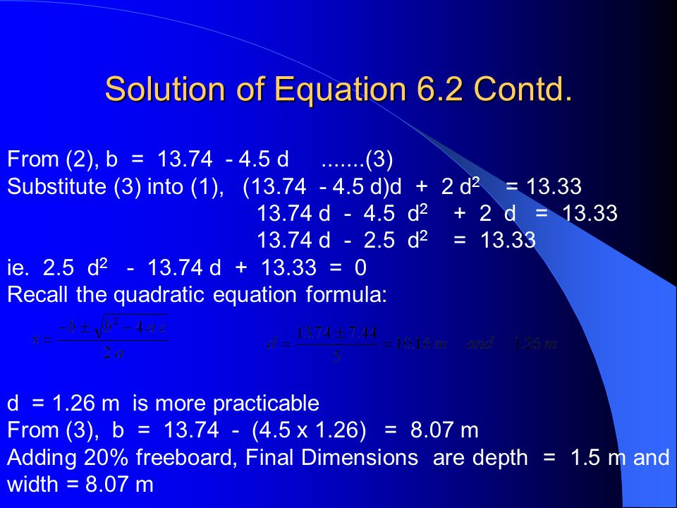 Solution of Equation 6.2 Contd.