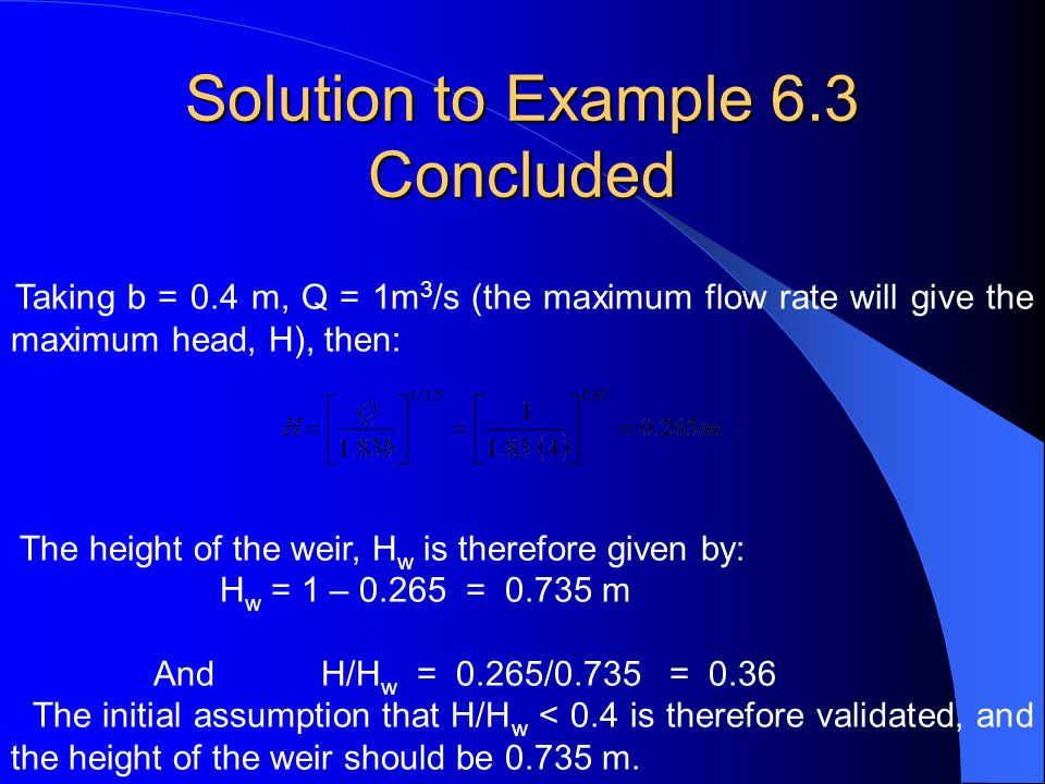 Solution to Example 6.3 Concluded