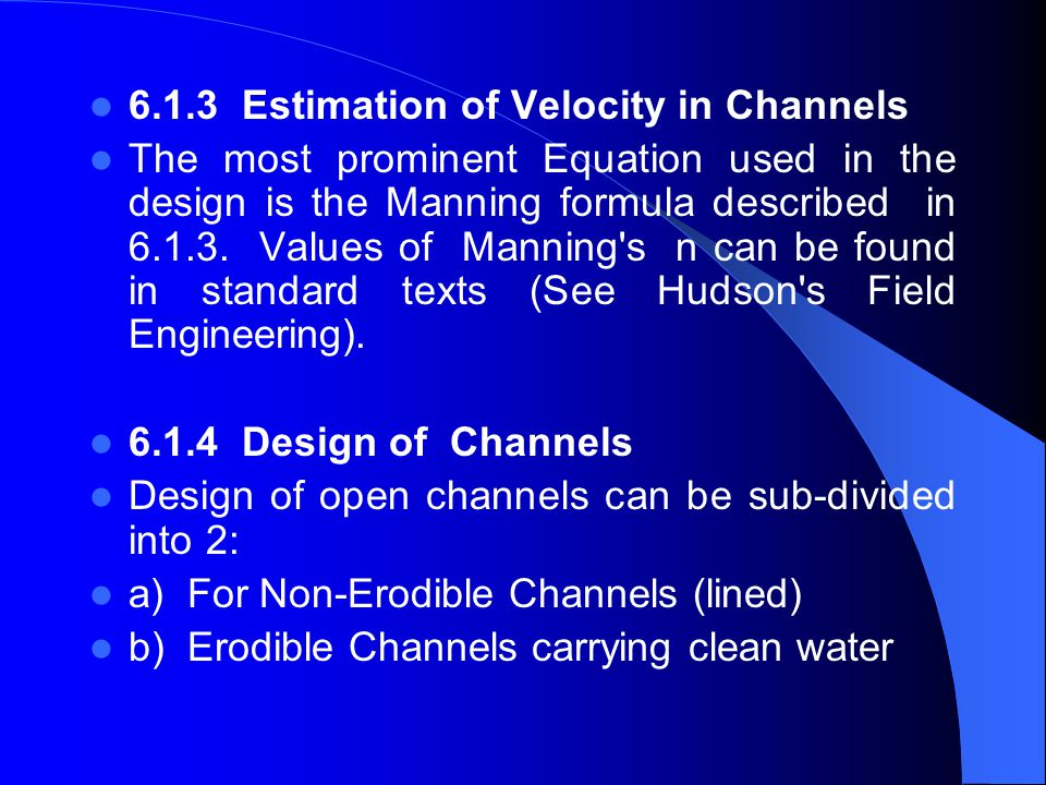 6.1.3 Estimation of Velocity in Channels