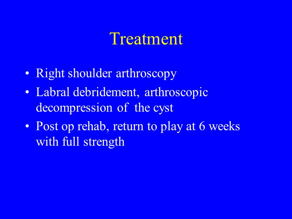 Treatment Right shoulder arthroscopy