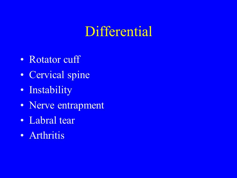 Differential Rotator cuff Cervical spine Instability Nerve entrapment
