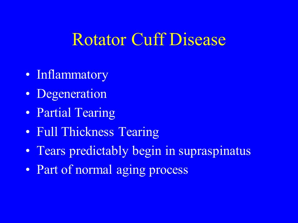 Rotator Cuff Disease Inflammatory Degeneration Partial Tearing