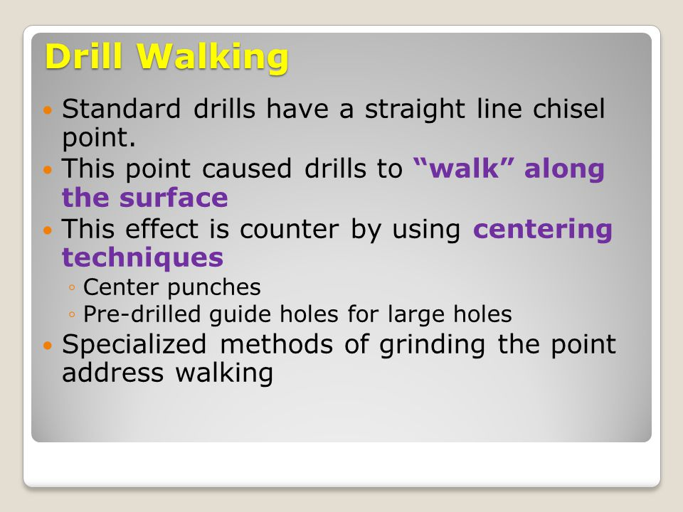 Drill Walking Standard drills have a straight line chisel point.