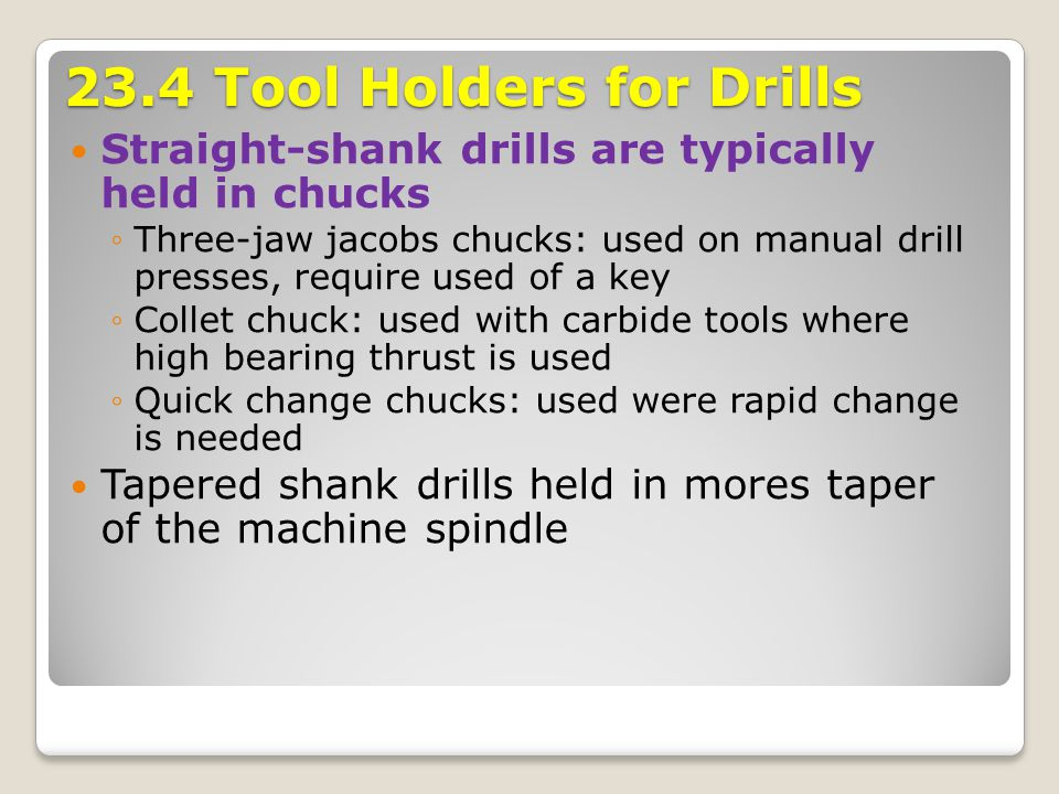 23.4 Tool Holders for Drills