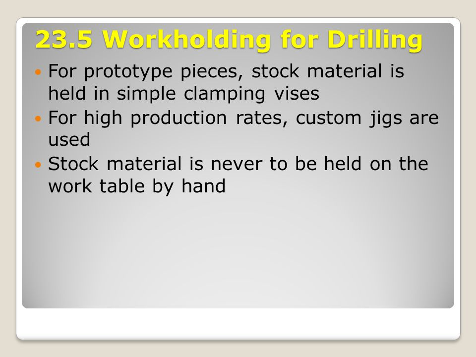 23.5 Workholding for Drilling