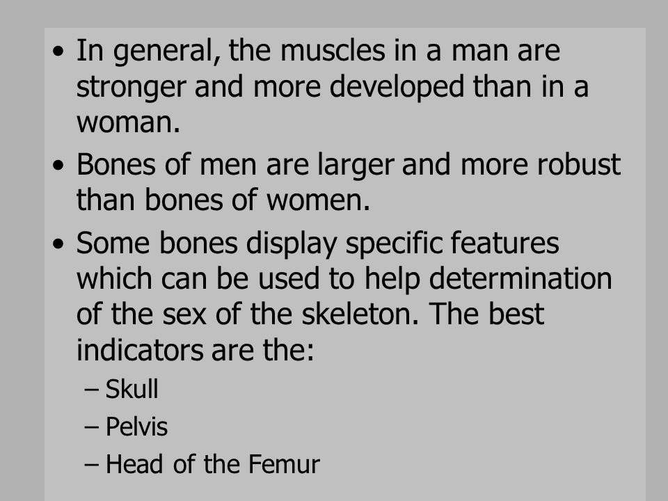 Bones of men are larger and more robust than bones of women.