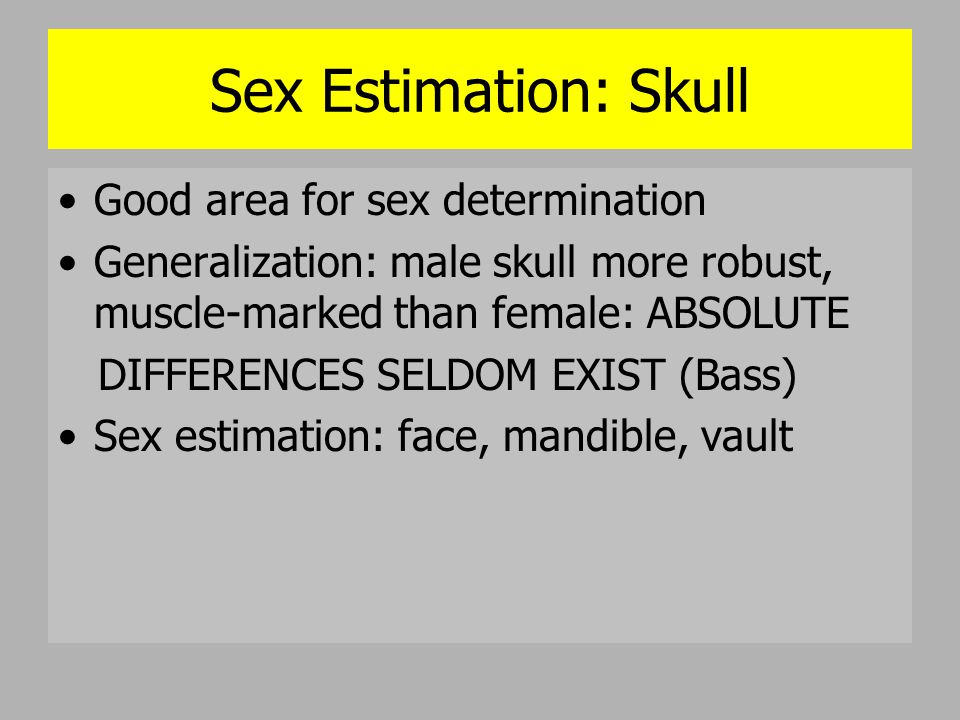 Sex Estimation: Skull Good area for sex determination