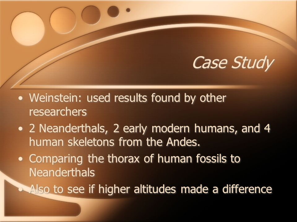 Case Study Weinstein: used results found by other researchers