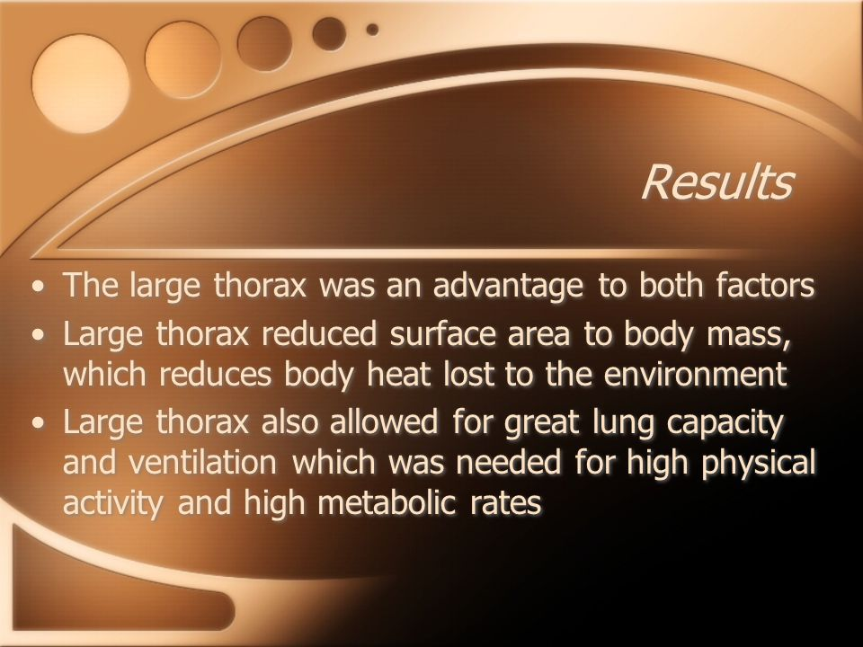 Results The large thorax was an advantage to both factors