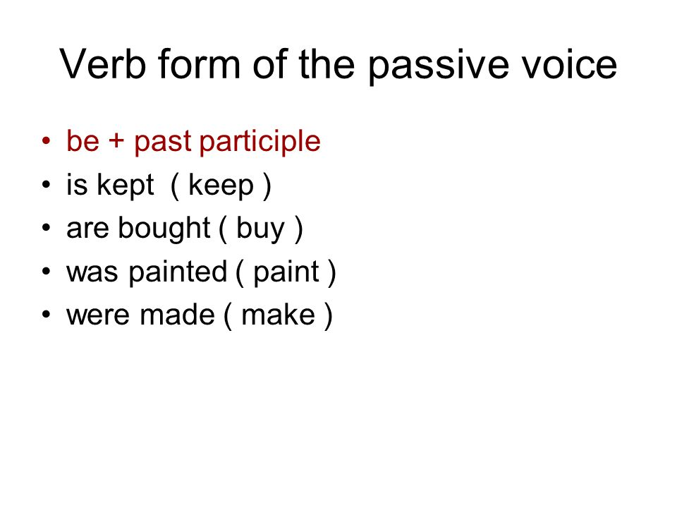Verb form of the passive voice
