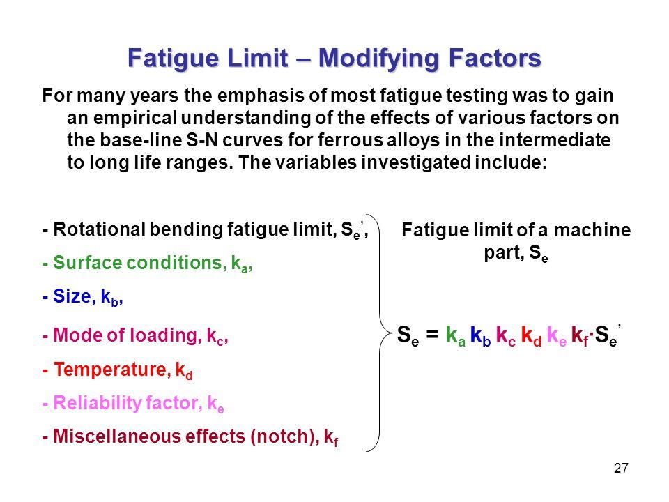 Fatigue Limit – Modifying Factors Fatigue limit of a machine part, Se