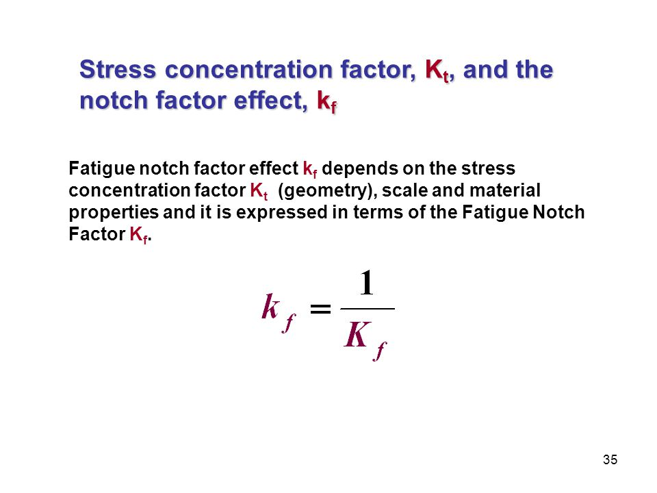 Stress concentration factor, Kt, and the notch factor effect, kf