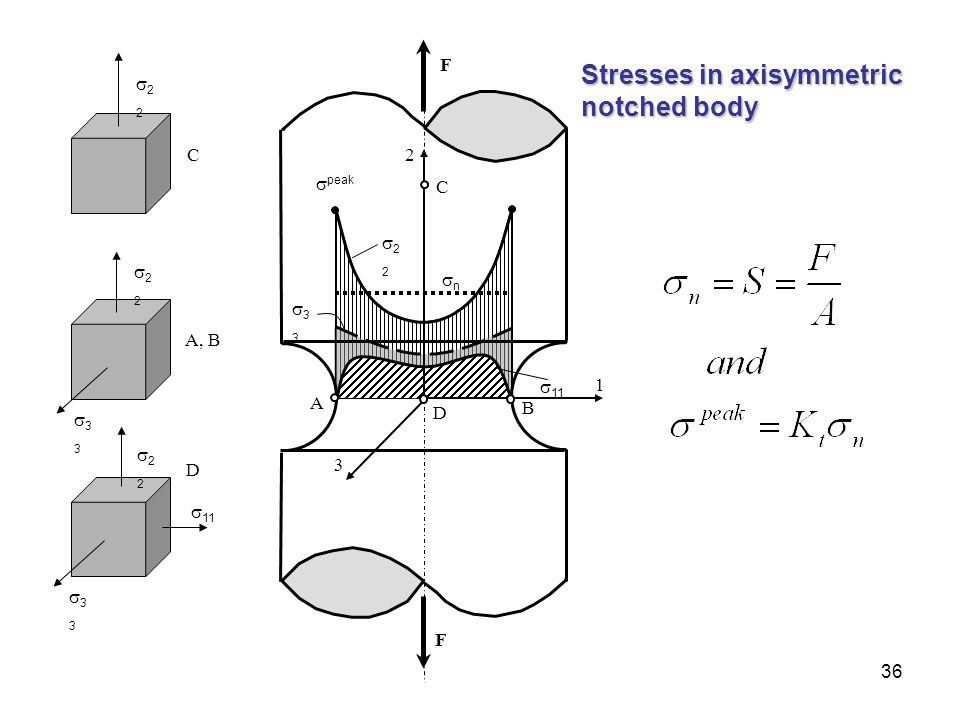 Stresses in axisymmetric notched body
