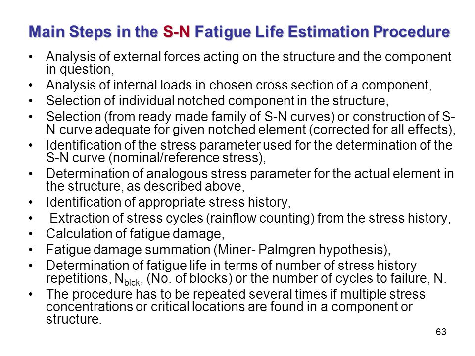 Main Steps in the S-N Fatigue Life Estimation Procedure