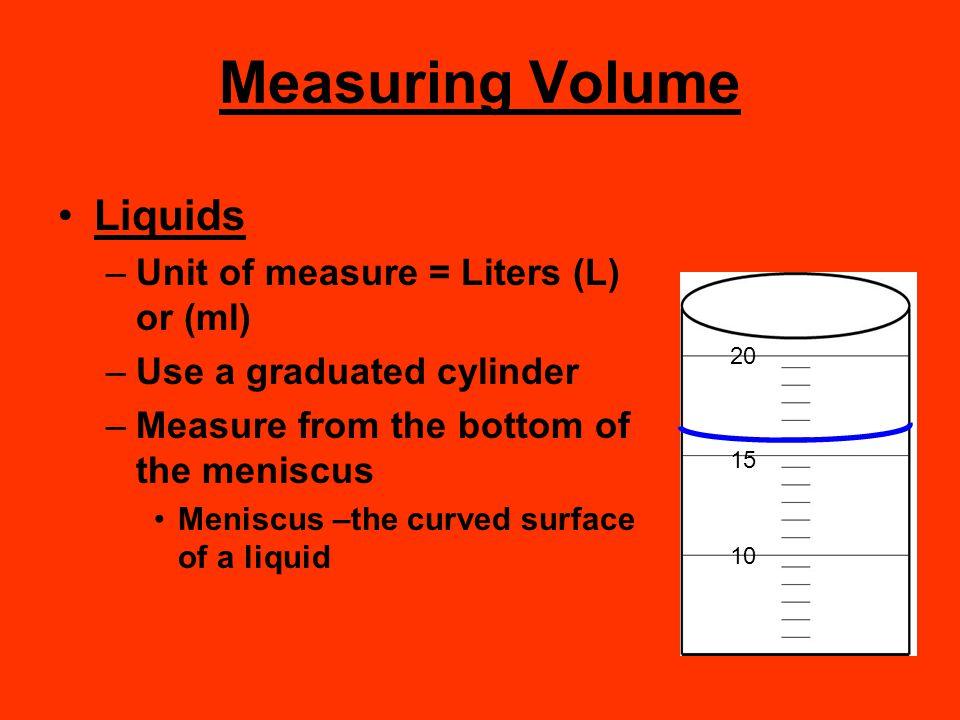 Measuring Volume Liquids Unit of measure = Liters (L) or (ml)