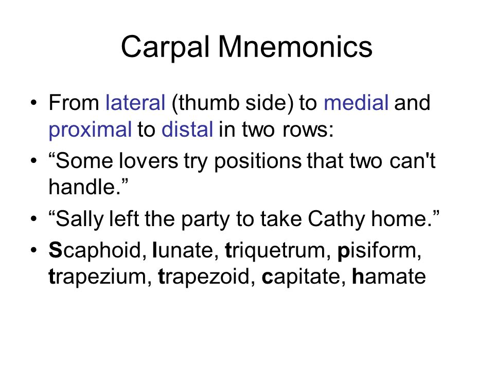 Carpal Mnemonics From lateral (thumb side) to medial and proximal to distal in two rows: Some lovers try positions that two can t handle.