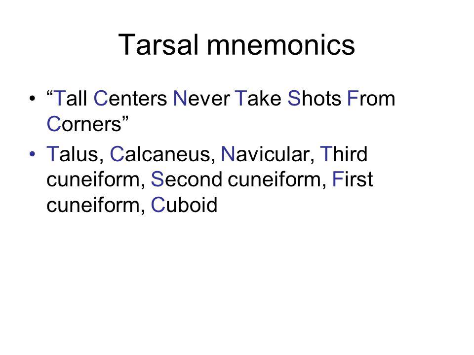 Tarsal mnemonics Tall Centers Never Take Shots From Corners