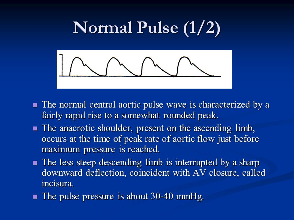 Normal Pulse (1/2) The normal central aortic pulse wave is characterized by a fairly rapid rise to a somewhat rounded peak.