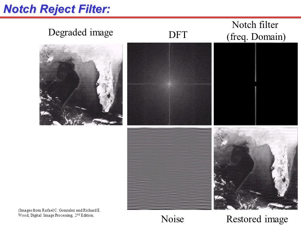Notch Reject Filter: Notch filter (freq. Domain) Degraded image DFT