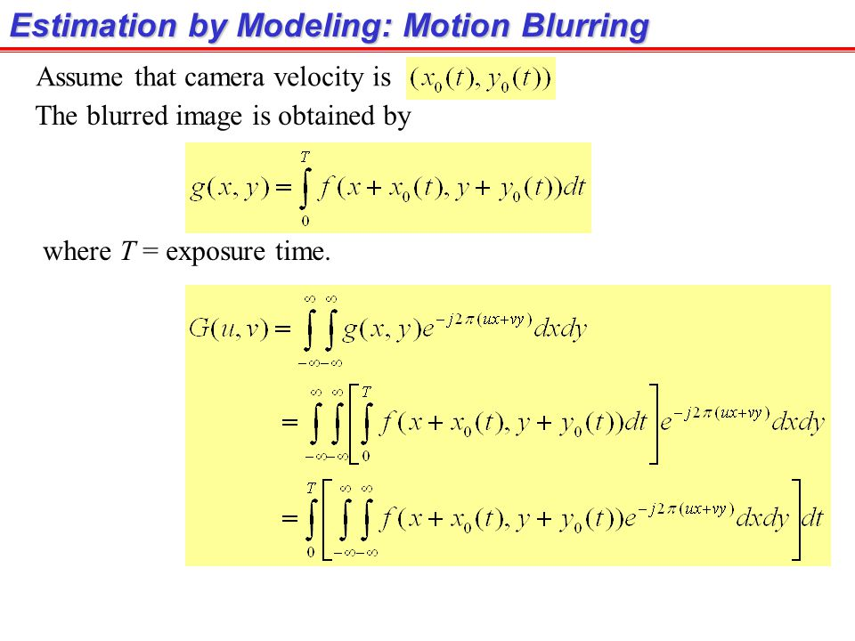 Estimation by Modeling: Motion Blurring