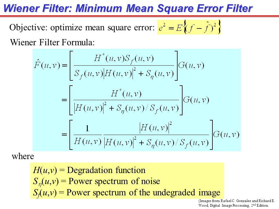 Wiener Filter: Minimum Mean Square Error Filter