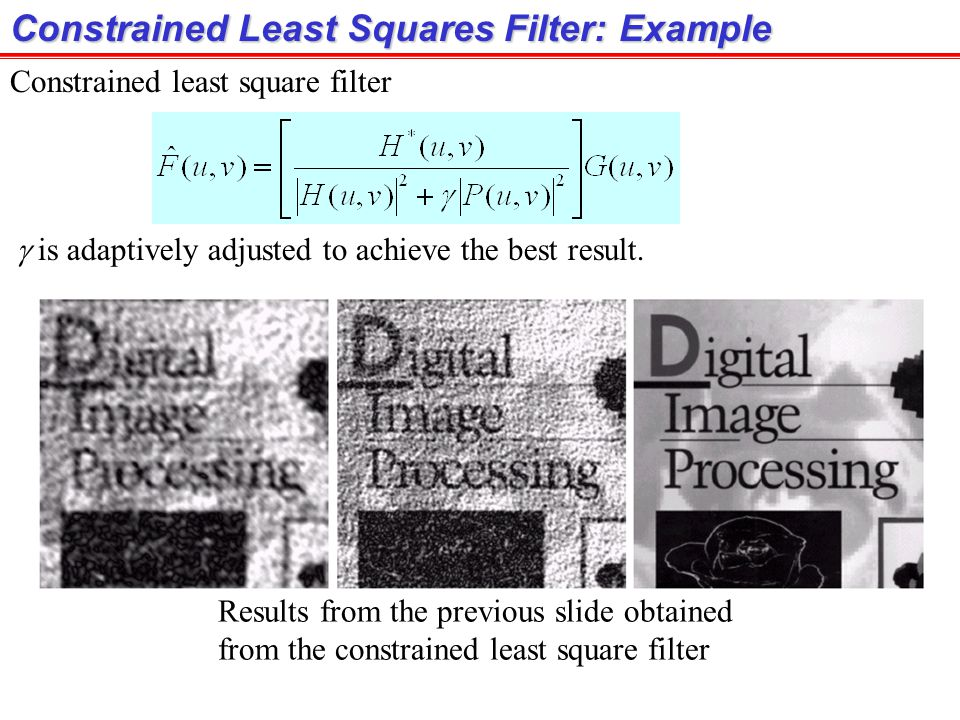 Constrained Least Squares Filter: Example