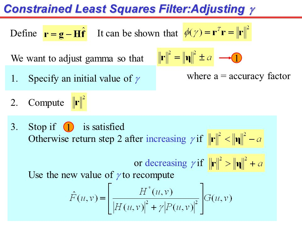 Constrained Least Squares Filter:Adjusting g