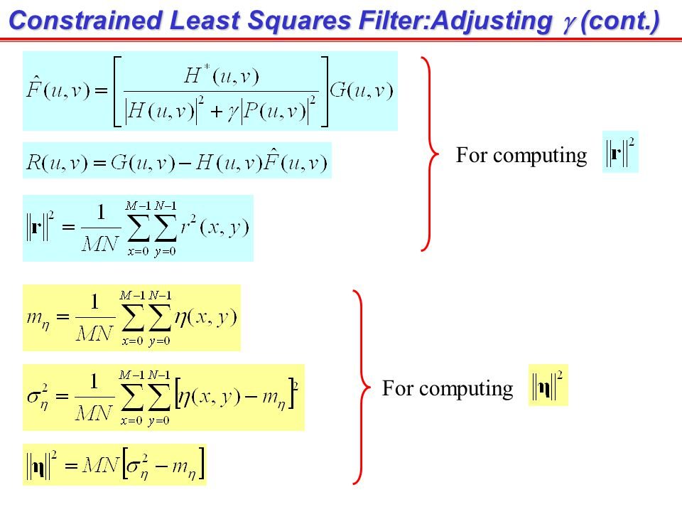 Constrained Least Squares Filter:Adjusting g (cont.)