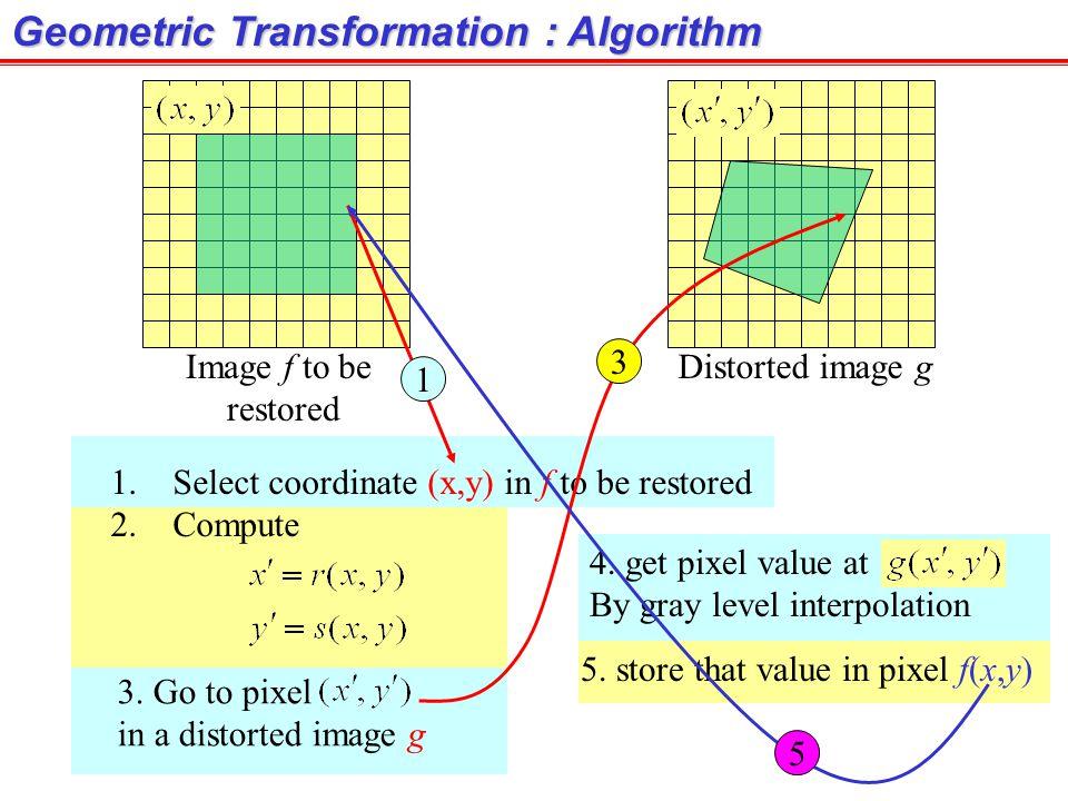 Geometric Transformation : Algorithm