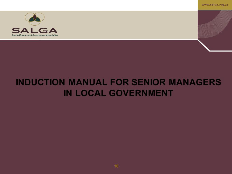 INDUCTION MANUAL FOR SENIOR MANAGERS IN LOCAL GOVERNMENT