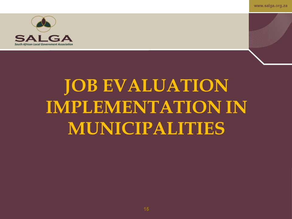JOB EVALUATION IMPLEMENTATION IN MUNICIPALITIES