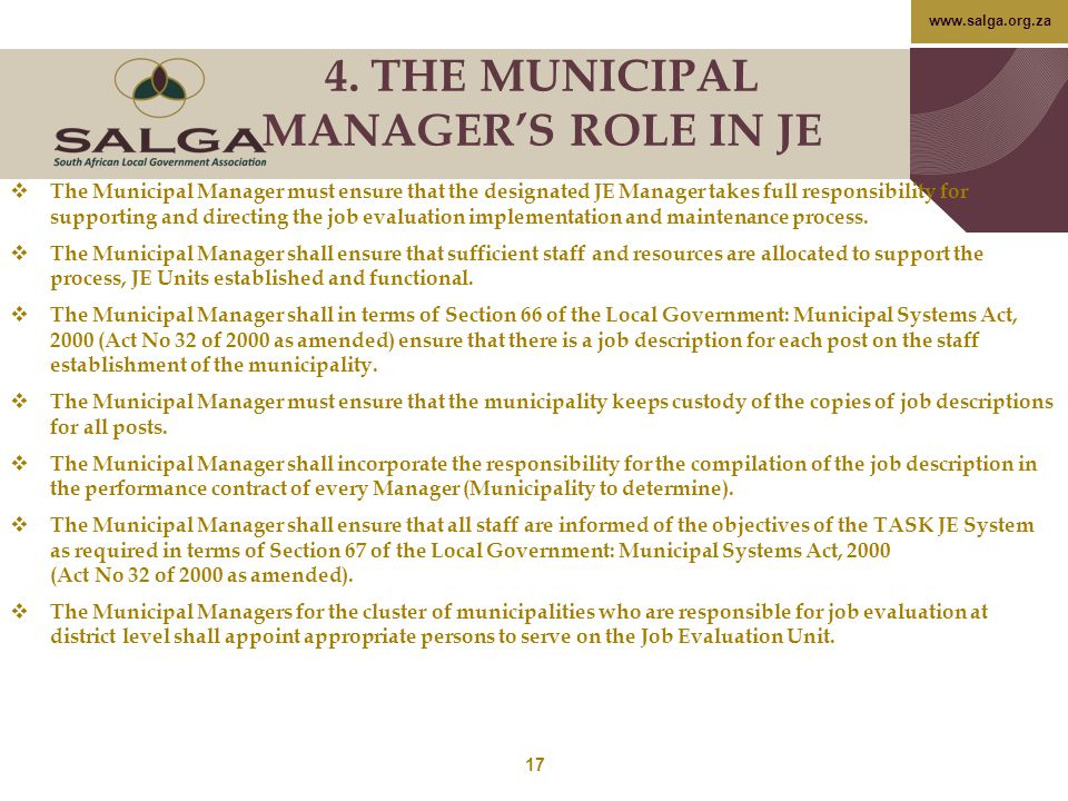 4. THE MUNICIPAL MANAGER'S ROLE IN JE