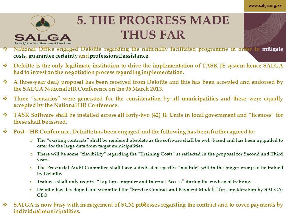 5. THE PROGRESS MADE THUS FAR