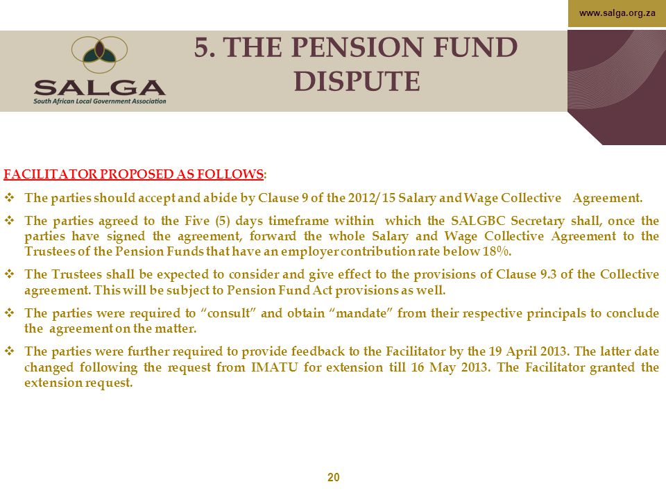 5. THE PENSION FUND DISPUTE