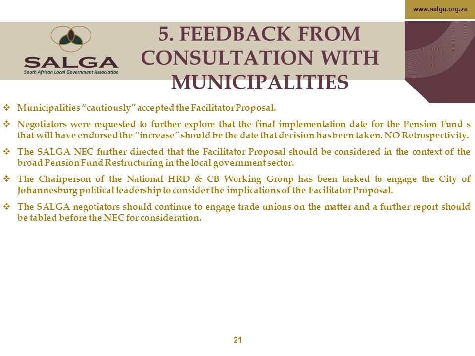 5. FEEDBACK FROM CONSULTATION WITH MUNICIPALITIES