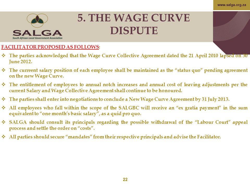 5. THE WAGE CURVE DISPUTE FACILITATOR PROPOSED AS FOLLOWS: